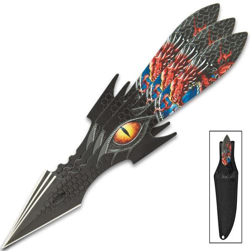 Dragon Eye Throwing Knife Set w/Sheath
