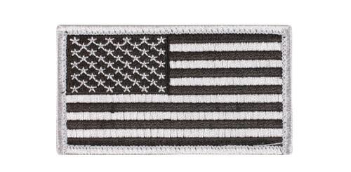 Patch - American Flag w/ Hook Back - Silver/Black