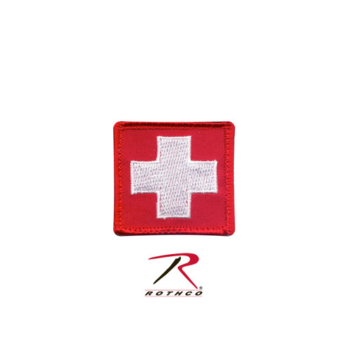 Patch - White Cross - Red / Velcro