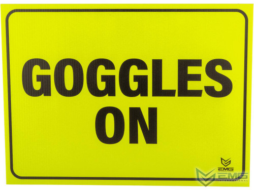 """Airsoft 18"""" x 24"""" Neon Plastic Field Sign by EMG (Type: Goggles On)"""