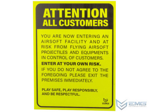 """Airsoft 18"""" x 24"""" Neon Plastic Field Sign by EMG (Type: Attention Customers)"""