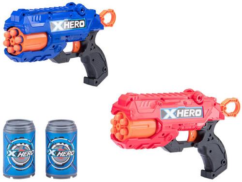 "XHERO Foam Dart Gun Multi-Shot ""Revolver"" Dual Pistol Set w/ Darts and Targets"