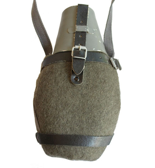 East German NVA Canteen w/Field Grey Cover, Cup, & Carry Strap