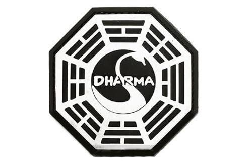 """""""Dharma"""" PVC IFF Hook & Loop Patch - Black / White"""