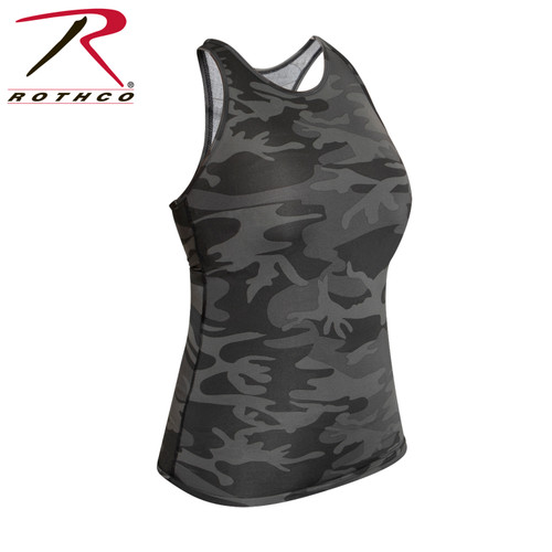 Womens Camo Workout Performance Tank Top - Black Camo