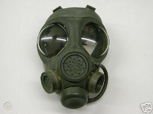 Canadian Armed Forces Issue C4 Gas Mask w/Filter and Carrier - Used