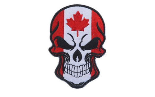 Canadian Flag Skull Iron On Patch