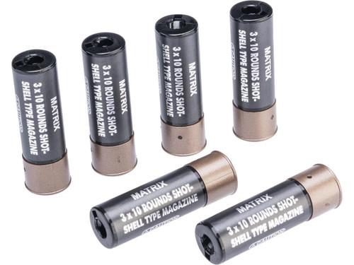 Matrix 30 Round Shotgun Shell Magazines for Spring Powered Airsoft Shotguns (Color: Black / Pack of 6 Shells)