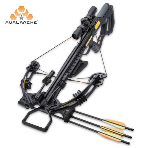 "Avalanche Guillotine Crossbow - Composite Stock, Fiberglass Limbs, Aluminum Barrel, 370 FPS, Safety Trigger - Length 35"""