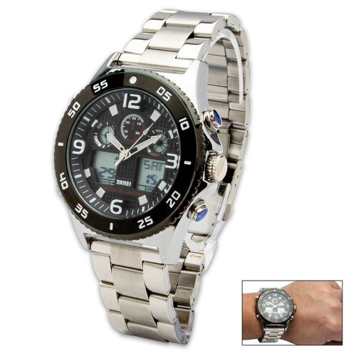 Contender Black And Stainless Everyday Casual Watch - Digital