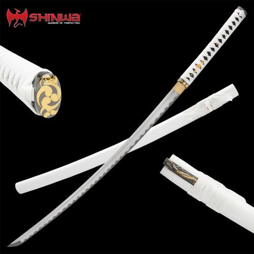 Shinwa Ivory Hariken Katana With Knife And Scabbard