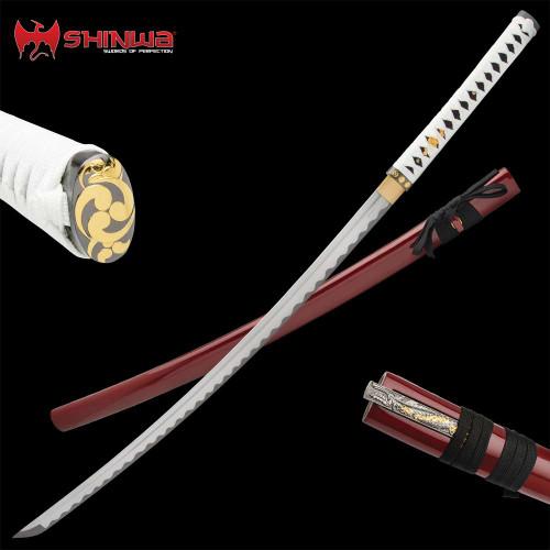 Shinwa Crimson Hariken Katana With Knife And Scabbard