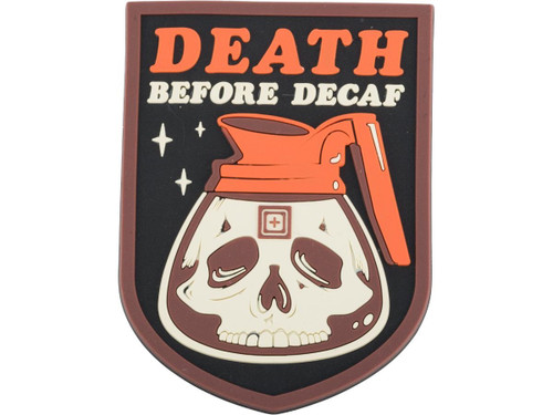 """5.11 Tactical """"Death Before Decaf"""" PVC Morale Patch"""