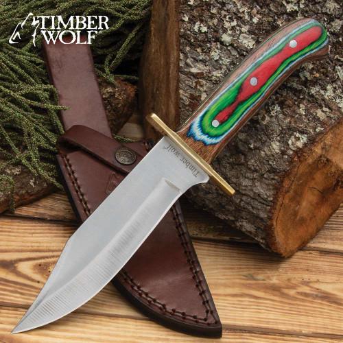 Timber Wolf Rainbow Knife And Sheath