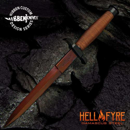 Hibben HellFyre Shadow Knife With Sheath - Damascus