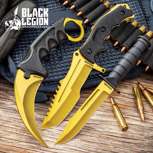 Black Legion Solar Gold Triple Knife Set
