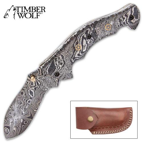 Timber Wolf Steam Pocket Knife - Damascus