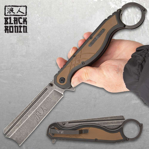 Black Ronin Straight Razor Pocket Knife