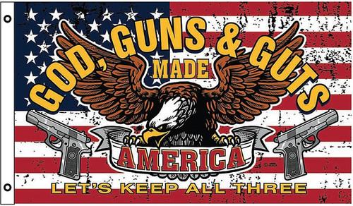 God Guns & Guts Flag