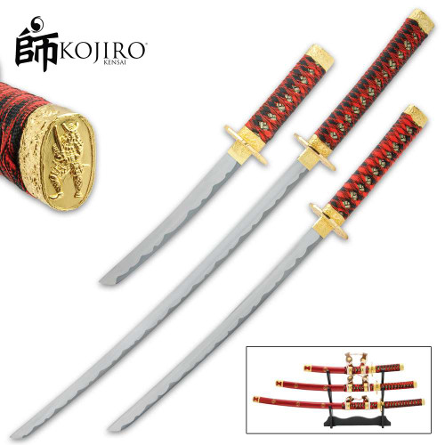 Kojiro Imperial Red Daisho Sword Set And Stand