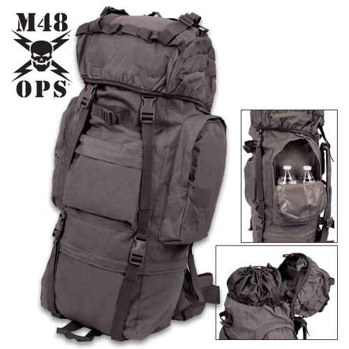 M48 Black Camping Backpack With Rain Cover