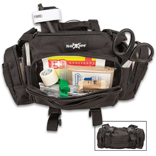 M48 OPS Black Tactical Response Kit - Daily Field First Aid Supplies