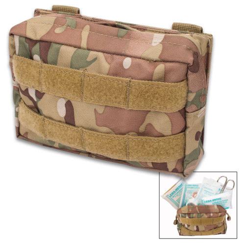 Mil-Tec 25-Piece First Aid Kit in MOLLE Belt Pouch - Camo