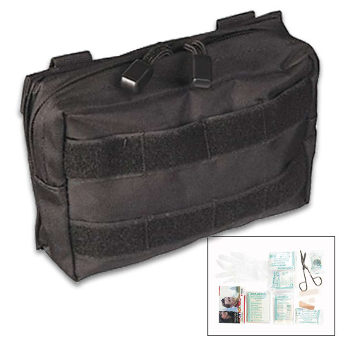 Mil-Tec 25-Piece First Aid Kit in MOLLE Belt Pouch - Black