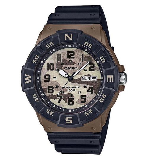 Casio MRW200 Analog Quarts Watch with Rotating Compass Bezel (Color: Camo)
