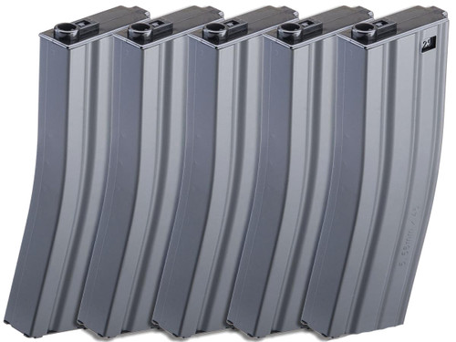 G&G Metal 125 Round Mid-Cap Magazine for G2 M4/M16 Series Airsoft Rifles (Color: Grey / Pack of 5)