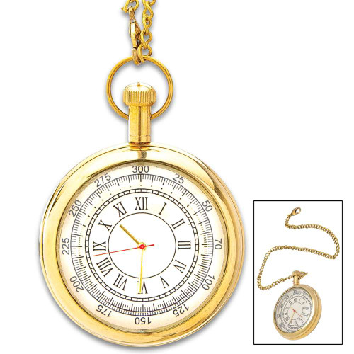 Antique Replica Brass Pocket Watch And Chain