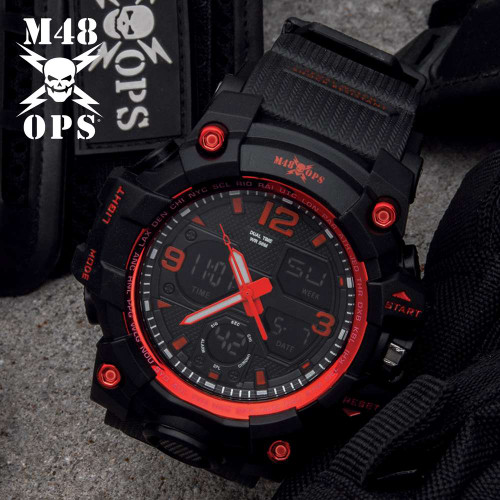M48 Black And Red Analog And Digital Tactical Watch