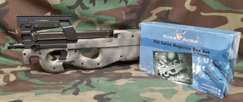 King Arms FN Herstal Licensed Full Metal P90 Tactical Airsoft AEG - Package - USED