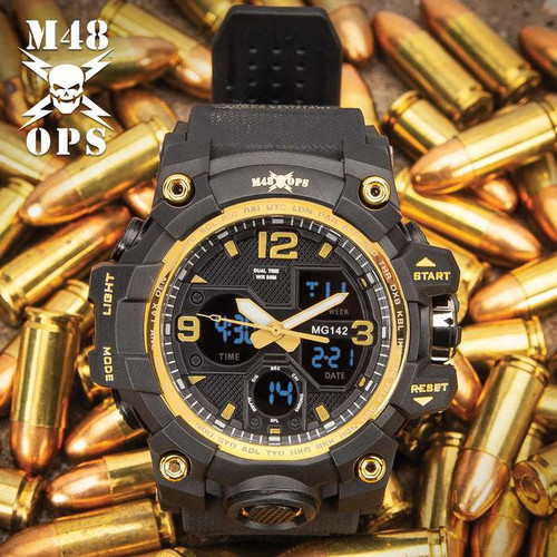 M48 Black And Gold Analog And Digital Tactical Watch