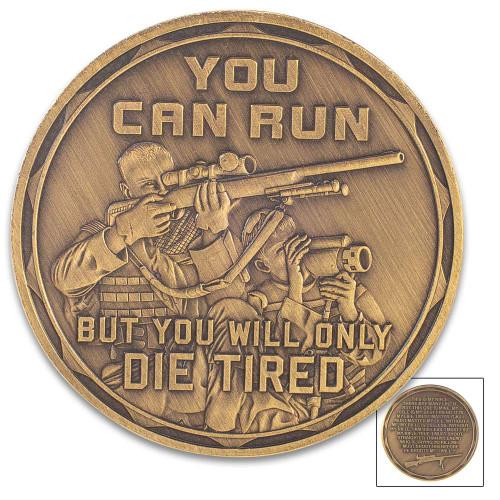 Sniper Challenge Coin - Antique Brass Finish