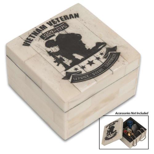 Vietnam Veteran Tribute Bone Keepsake Box