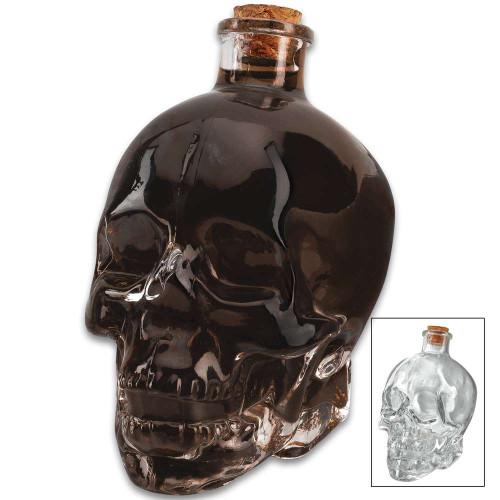 Glass Skull Decanter With Cork Stopper