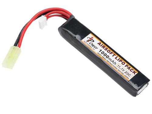 Intellect iPower 11.1v 1000mah 20c Airsoft Buffer Tube LiPo Battery Pack (Configuration: Small Tamiya)