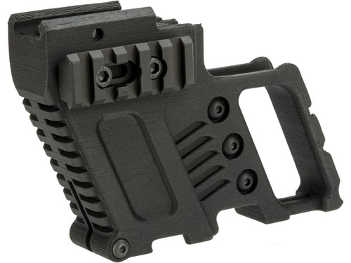 Slong Airsoft 3D Printed Front Grip with Magazine Caddy for Elite Force / UMAREX GLOCK Airsoft Gas Blowback Pistols (Color: Black)