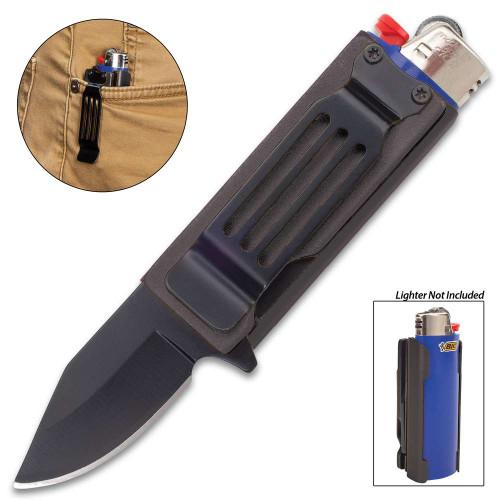 Black Lighter Caddy And Pocket Knife