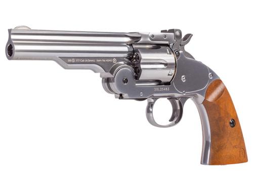 "Barra Schofield No. 3 Chrome CO2 BB Revolver, 5"" Barrel"
