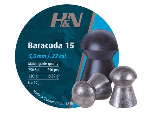 H&N Baracuda 15 .22 Cal 15.89 Grains Round Nose 250ct