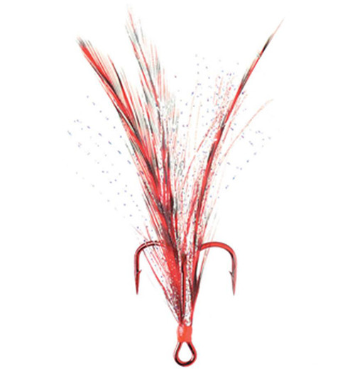 Mustad Dressed Treble with Red Hook and Red Grizzly Feathers