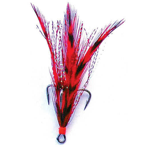 Mustad Dressed Treble with Black Nickel Hook and Red Grizzly Feathers