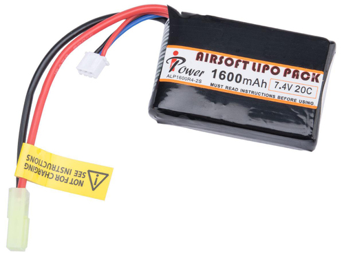 iPower 7.4V Airsoft LiPo Battery (Model: 1600mAh 30C Custom Brick)