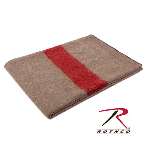 Swiss Style Wool Blanket - Tan/Red Stripe