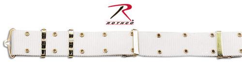 G.I. Style Pistol Belt w/Metal Buckle - White