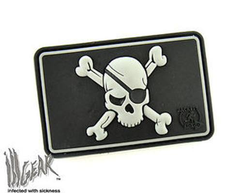 Pirate Skull Flag PVC - Gray - Morale Patch