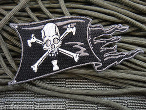 Wyne Ripped Black Pirate Skull Flag - Morale Patch