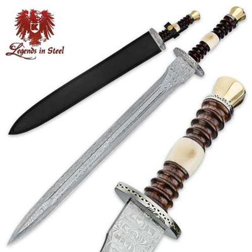 Legends In Steel Renaissance Rosewood & Genuine Bone Handle Damascus Sword